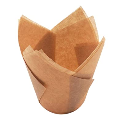 Aland 50Pcs Oil-proof Tulip Cake Cup Muffin Cupcake Liner Paper Holder Baking Tool Oil-Proof And Heat-Resistant Bread Snack Paper Tray Baking Cup Dark Khaki: Toys & Games