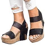 #9: Syktkmx Womens Strappy Platform Wedges Open Toe Slingback Cork Heel Slip on Thong Sandals