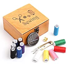 Wooden Sewing Box Household Sewing Kits Accessories Wooden Storage Organizer - 49pcs