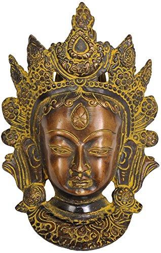 Tara Brass Statue - Goddess Tara Wall Hanging Mask (Tibetan Buddhist Deity) - Brass Statue