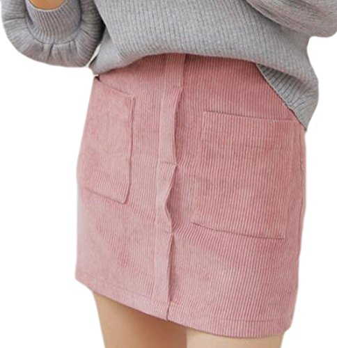 [KXP Women's Vouge Solid High Waist Corduroy Bodycon Skirts Pink Small] (Womens Pink Corduroy)
