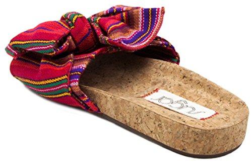Zucchero Da Donna Xenon Sughero Flat Bow Sandalo Rosso Multi Striscia