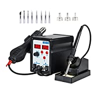 Tek Motion 898D 2 in 1 SMD Hot Air Rework Station and Soldering Iron with 11 Tips 3 Nozzles & LED Screen from Tek Motion