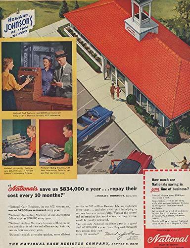 Cream Johnsons Howard Ice (National Cash Registers for Howard Johnson's Ice Cream Restaurants ad 1955 SEP)