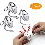3 PACK Emergency Personal Alarm (siren song)- 140dB Extreme Sound - LED Flashlight - Portable Survival Whistle - Rip Cord Activation & Keychain - Safety Protection Kids Girls Women Unisex