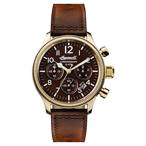 Ingersoll Men's Automatic Stainless Steel and Leather Casual Watch, Color:Brown (Model: I03802)