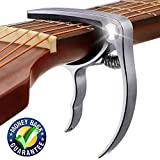 Guitar Capo, Premium Zinc Metal Capo For Acoustic Guitar and Electric Guitar, Banjo,Mandolin, Ukulele Capo, Silver