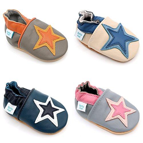 Dotty Fish - Chaussures cuir souple bébé et bambin - Garçons et filles - Orange et Gris étoile - 6-12 Mois