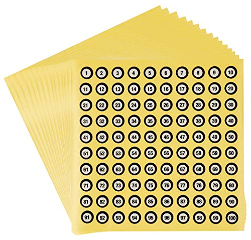 Numbers Stickers – 30-Pack Small Sticker Number, Number 1 – 100, Self Adhesive Number Labels, Round, 0.4 Inches in Diameter