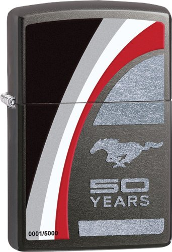 Zippo Lighter - Ford Mustang 50 Years Limited Edition Translucent Gray Dusk NEW