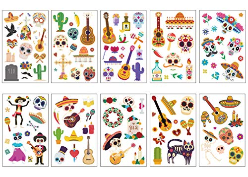 Mulfei Day of The Dead Coco Temporary Tattoos for Kids Boys Girls Mexican Halloween Party Favor Supplies-(10 Sheets)