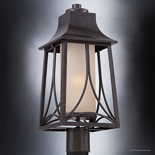 Luxury Asian Outdoor Post Light, Large Size: 21''H x 8.5''W, with Craftsman Style Elements, Airy and Simplistic Design, Beautiful Royal Bronze Finish and Light Amber Glass, UQL1083 by Urban Ambiance by Urban Ambiance (Image #3)