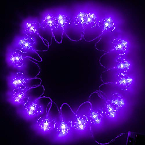 ITART Purple Bat String Lights Halloween Decorative String Lights 20 LEDs 6ft Battery Operated Halloween Décor Indoor Outdoor Party Lighting Decoration -