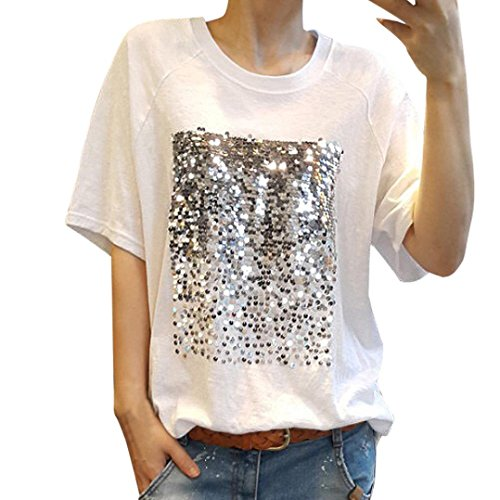 r Casual T-Shirt Sequin Tops Short Sleeve Shirt Blouse (Lilac Pearl Scallop)