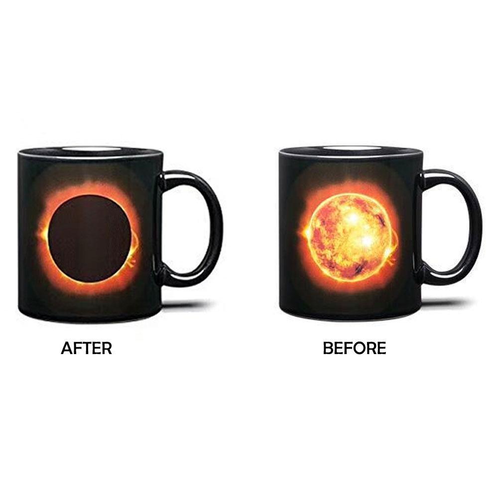 niceEshop(TM) Solar Eclipse Coffee Mug Heat Reveal Ceramic Coffee Mug Creative Mug with Colorful Gift Box