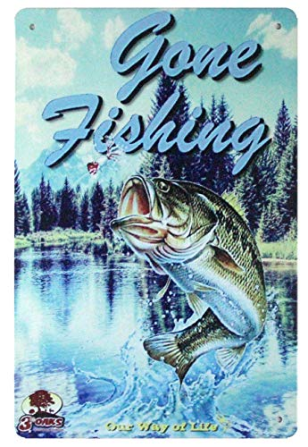 Gone Fishing Fish Bait Tackle Marina tin Metal Sign Plaque Wall Decor Living Room Plaque Wall Art Decor