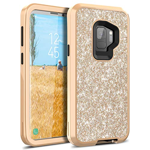 S9 Case, WeLoveCase Galaxy S9 Case Glitter Sparkle Design Three Layer Shockproof 3 in 1 Hybrid Heavy Duty Protective Cover Case for Samsung Galaxy S9 Case (Champagne Gold)