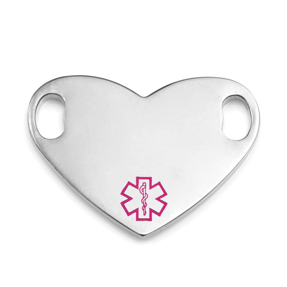 StickyJ Stainless Pink Heart Medical Alert Tag for Bracelet w Free Engraving