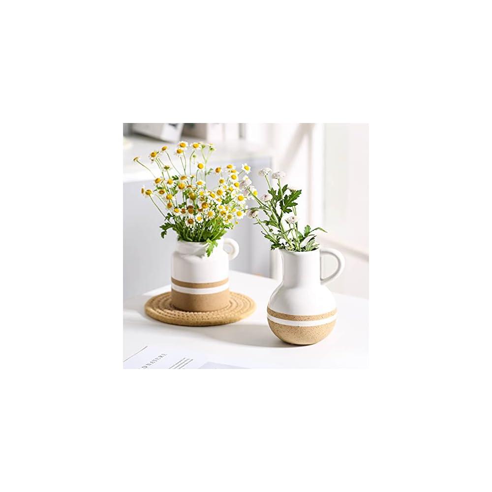 Ceramic Vase Set of 2,Small Ceramic Jug Set, Farmhouse Home Decor, Rustic Vase for Living Room Decor
