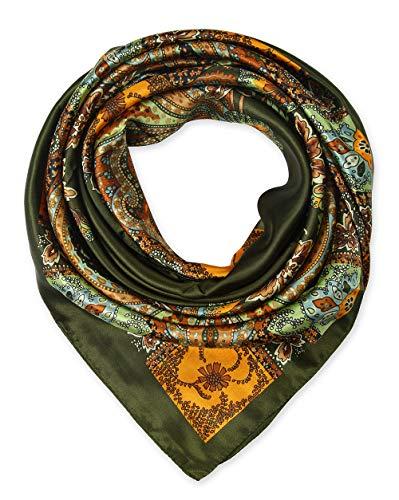 Large Square Satin Silk Like Lightweight Scarfs Hair Sleeping Wraps for Women Olive Totem Pattern ()