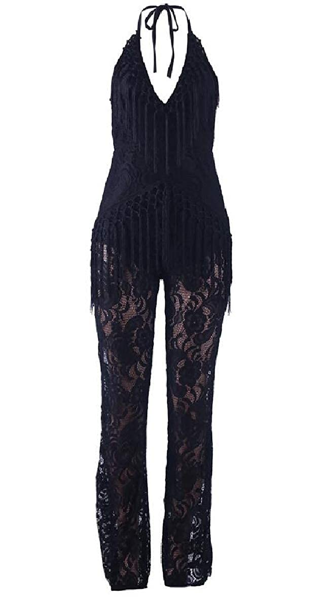 yibiyuan Women Spaghetti Straps V-Neck Halter Lace Tassel Jumpsuit