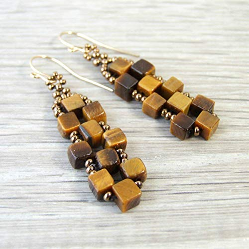 (Brown Tiger Eye Cube Natural Stone Beaded Dangle Drop Earrings with Handcrafted 14k Goldfilled Earwires - Handmade Gemstone Jewelry for Women)