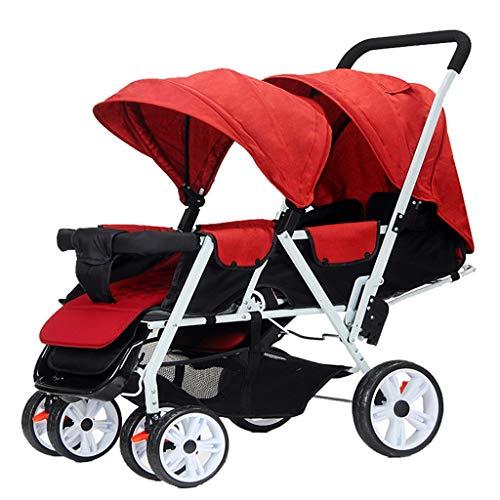 Double Stroller, Twin Tandem Baby Stroller, 5 Points Safety Belts, Foldable Design for Easy Transportation (Color : Red)