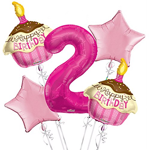 (Cupcakes Balloon Bouquet 2nd Birthday 5 pcs - Party Supplies)