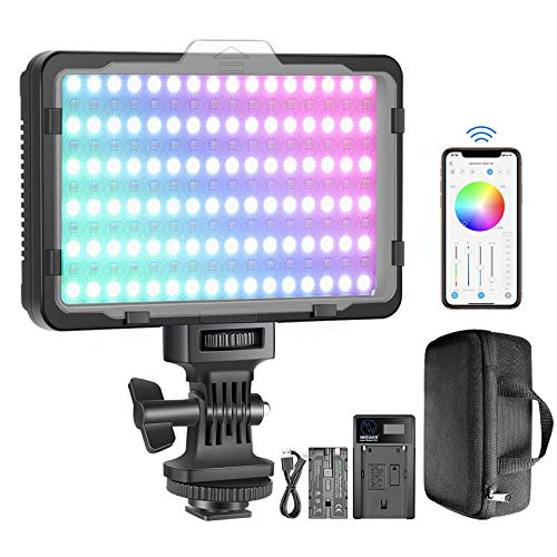 Neewer RGB Video Light with APP Control, 360° Full Color Led Camera Light CRI95+ Dimmable 3200K-5600K, 9 Light Scenes…