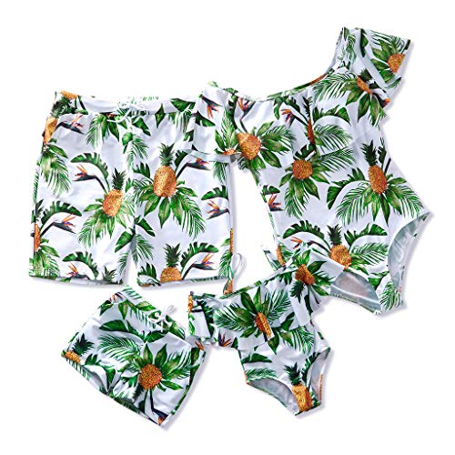 PatPat Mommy and Me Swimsuit One Piece Pineapple Printed Family Matching Swimwear Men: L Green (Couple Swim Suit)