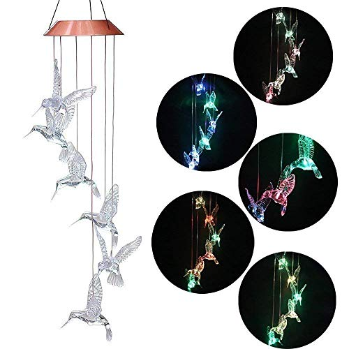 MeeDoo Solar Power Color Changing Hummingbird Wind Chimes, LED Mobile Solar Wind Chime for Outdoor Garden Porch Patio Yard