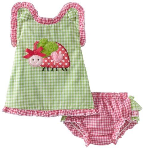 Mud Pie Baby-Girls Newborn Lady Bug Pinafore And Bloomer Set, Green/White, 9-12 Months