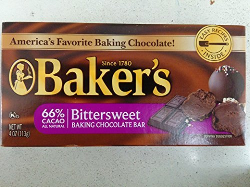 - Baker's Bittersweet Baking Chocolate Bar, 4 Oz (6-Pack)