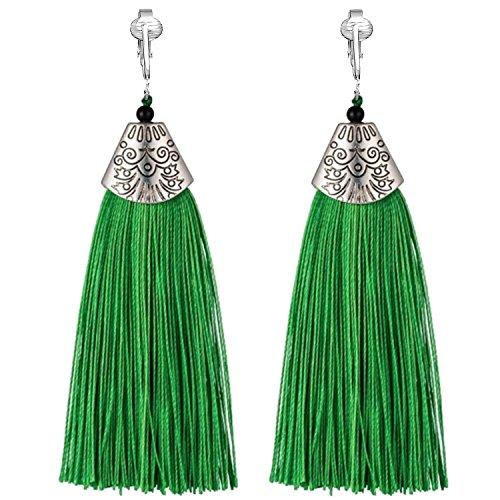 Clip Earring Shop-Clip On Tassel Earrings-Dangle Clip On Earrings Silk Tassel Long Clip On Earrings Bohemian (Green Tassels)