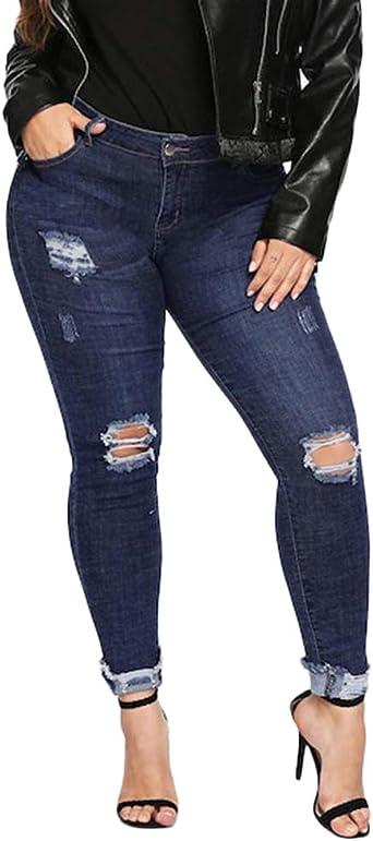 Yaott Vaqueros Pantalones Para Mujeres De Cintura Alta Ajustados Tallas Grandes Jeans Rotos Amazon Es Ropa Y Accesorios