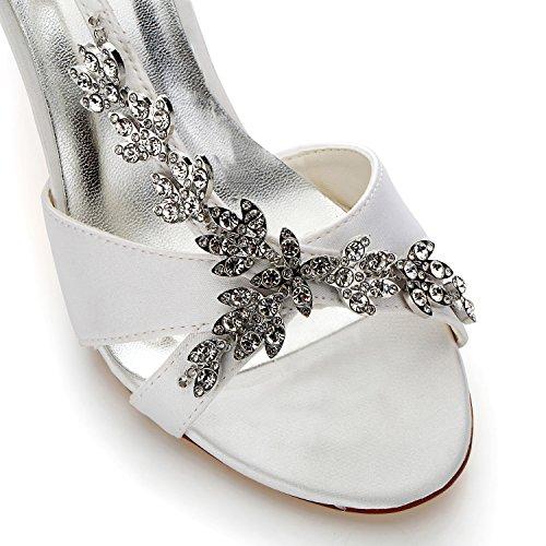 Pour Chaussures Blanc Jia Femme Talon Sandales En Mariage Mi Strass Bout 1415a Mariée Satin De Ouvert tdqwqB