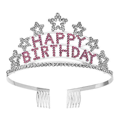 SWEETV Crystal Birthday Tiara Rhinestone Princess Crown Happy Birthday Crowns, Pink -