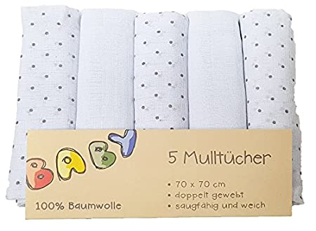 5er-Pack Mullwindeln 70x70 cm