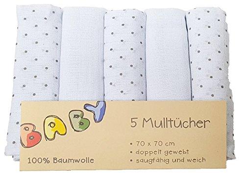 5er Pack Mullwindeln Mulltü cher 5 Stü ck Spucktuch Tü cher Baby Tuch Windeln - schwarze Punkte