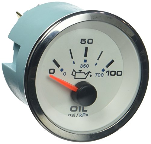 Sierra International 62543P White Premier Pro Electric Scratch Resistant Oil Pressure Gauge, 2