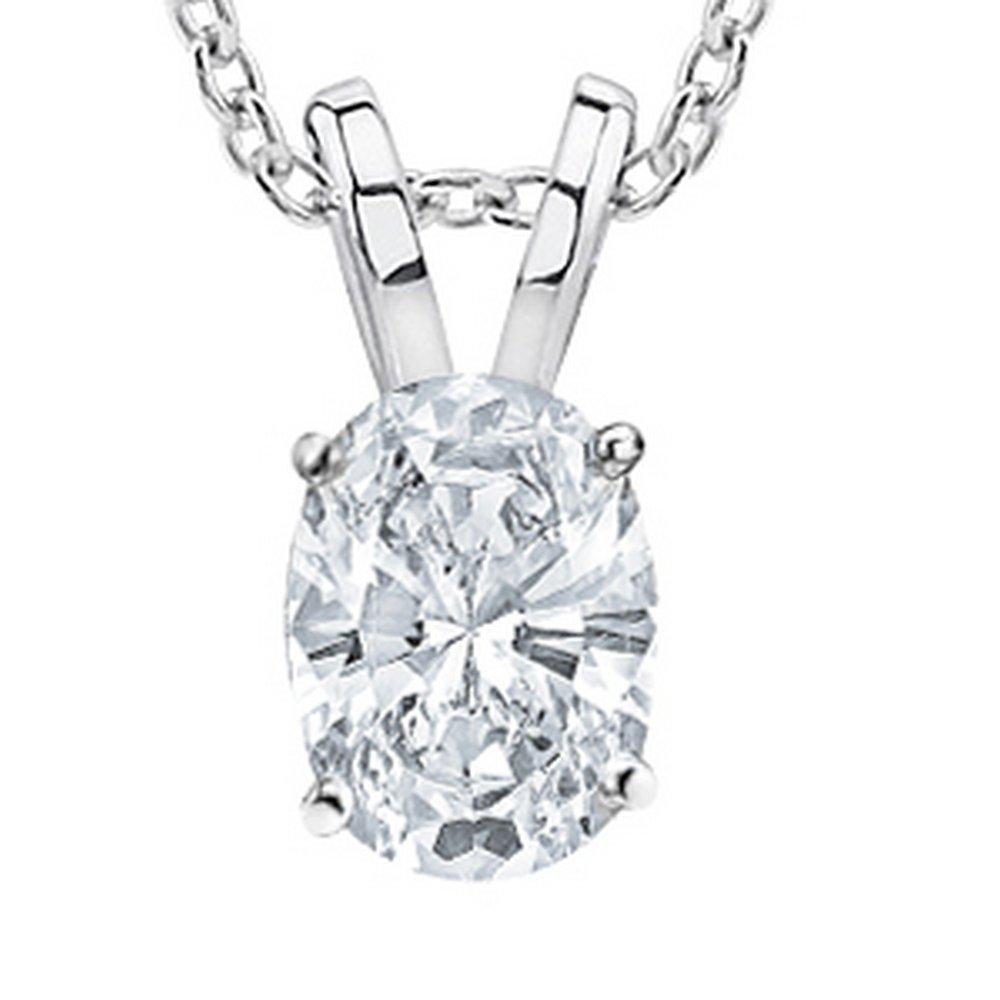 1/2 Carat GIA Certified 14K White Gold Solitaire Oval Cut Diamond Pendant (0.5 Ct D-E Color, VVS1-VVS2 Clarity) w/ 16'' Gold Chain