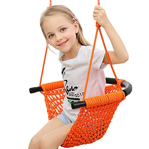 Kids Swing, Swing Seat for Kids with Adjustable Ropes, Hand-kitting Rope Swing Seat Great for Tree, Indoor, Playground, Background (Orange)