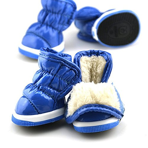 8d66a96659327 Amazon.com : HongYu Pet Snow Boots, 4 PCS Fold Space Leather Snow ...