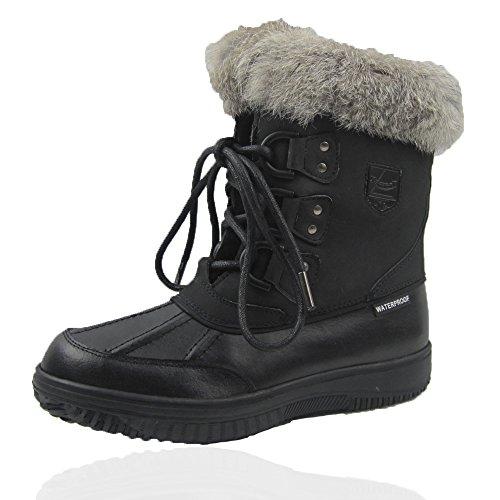 Comfy Moda Women's Winter Snow Boots Glacier Leather Waterproof #6-11 (9, Black) by Comfy Moda