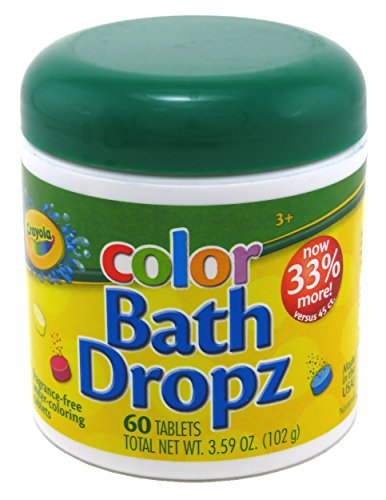 Crayola Color Bath Dropz 60 Tablets 3.59 Ounce Jar (3 Pack)