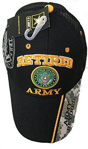 Retired USA Army Mesh Trucker Style Black w/ Seal Embroidered Baseball Cap Hat