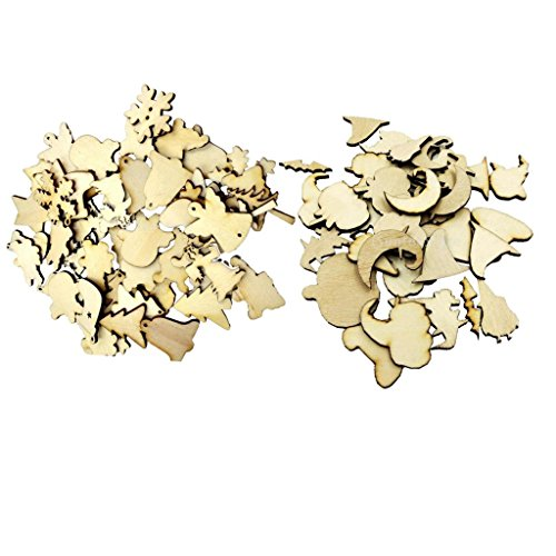 MonkeyJack 50 Halloween Wooden Shapes Craft & 50 Wood Christmas Embellishments Scrapbooking Card MDF Cut Wood Gift DIY ()