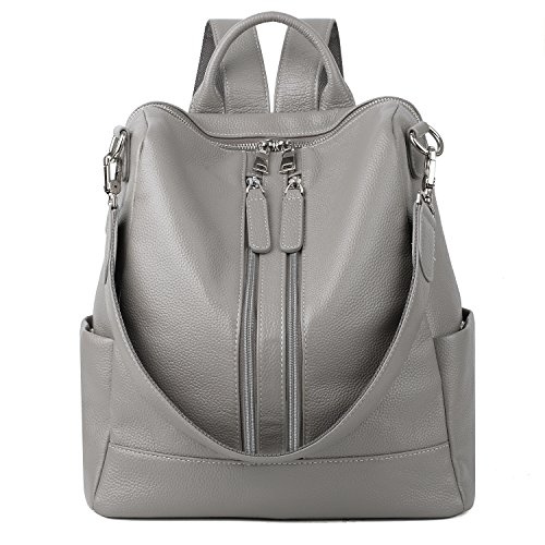 YALUXE Women's Convertible Real Leather Backpack Versatile Shoulder Bag (Upgraded 3.0) Grey by YALUXE