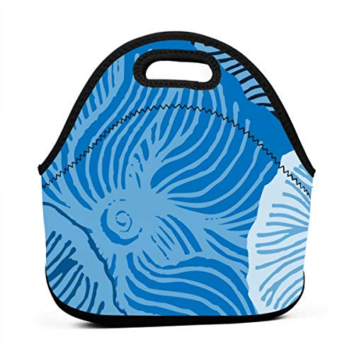 Blue Cherry_1071 Waterproof Insulated Lunch Portable Carry Tote Picnic Storage Bag Lunch box Food Bag Gourmet Handbag For School Office