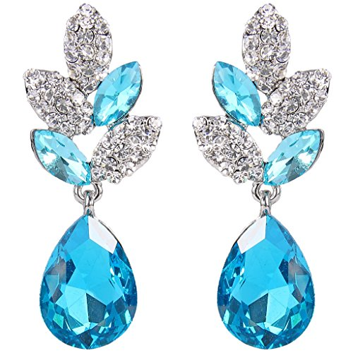 EVER FAITH Rhinestone Crystal Wedding Leaf Teardrop Pierced Dangle Earrings Light Blue Silver-Tone ()